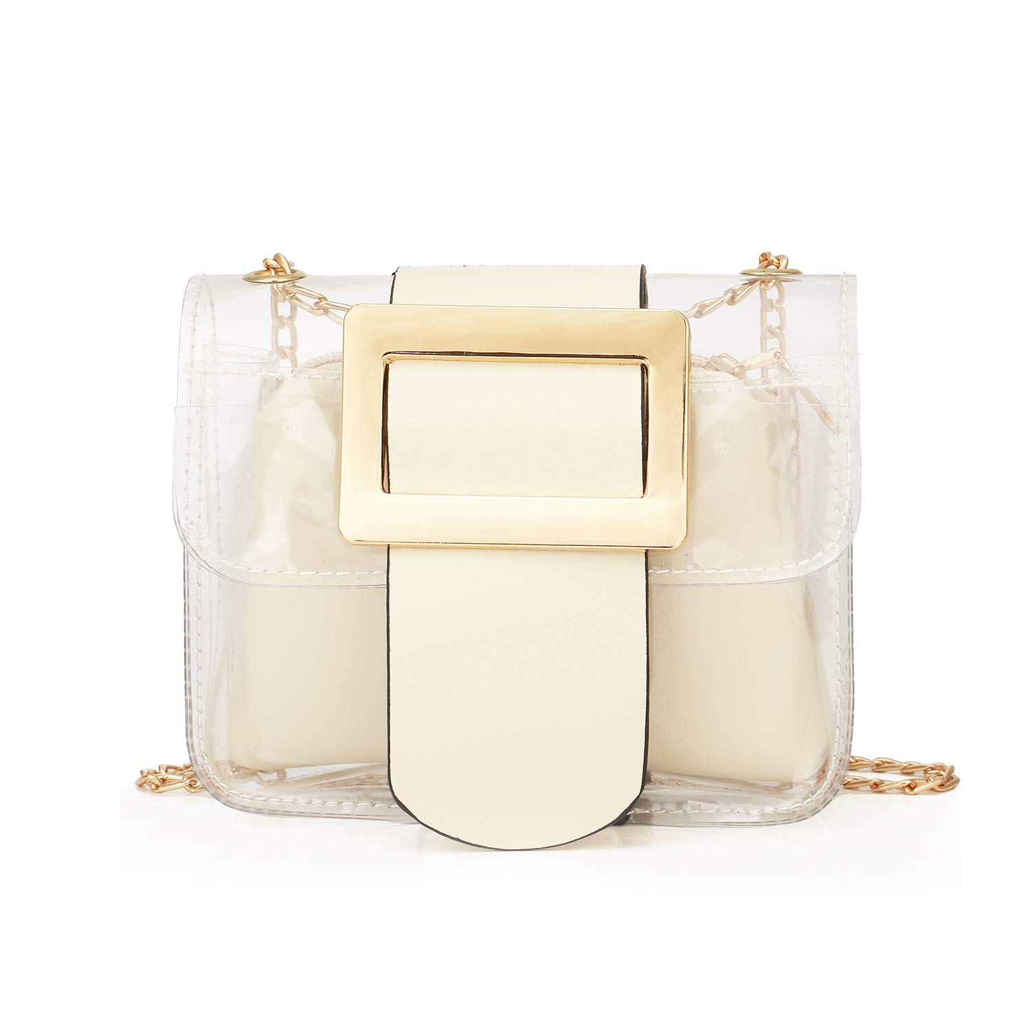 Clear Handbags 2-in-1 Tote Transparent Shoulder Bag Fashion Shoulder Crossbody Purse,White