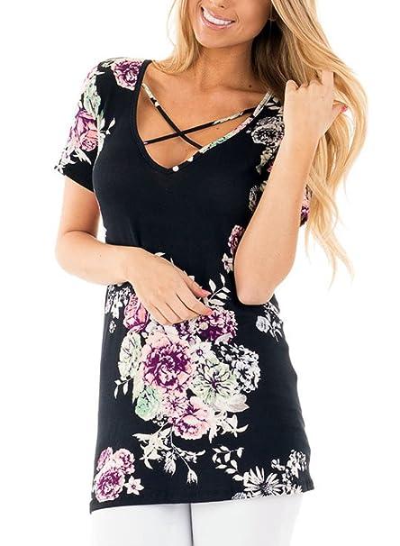 e0b99c16cd9b0d Lovezesent Women's Short Sleeve V Neck Floral Print T-Shirt Blouses Medium  Black