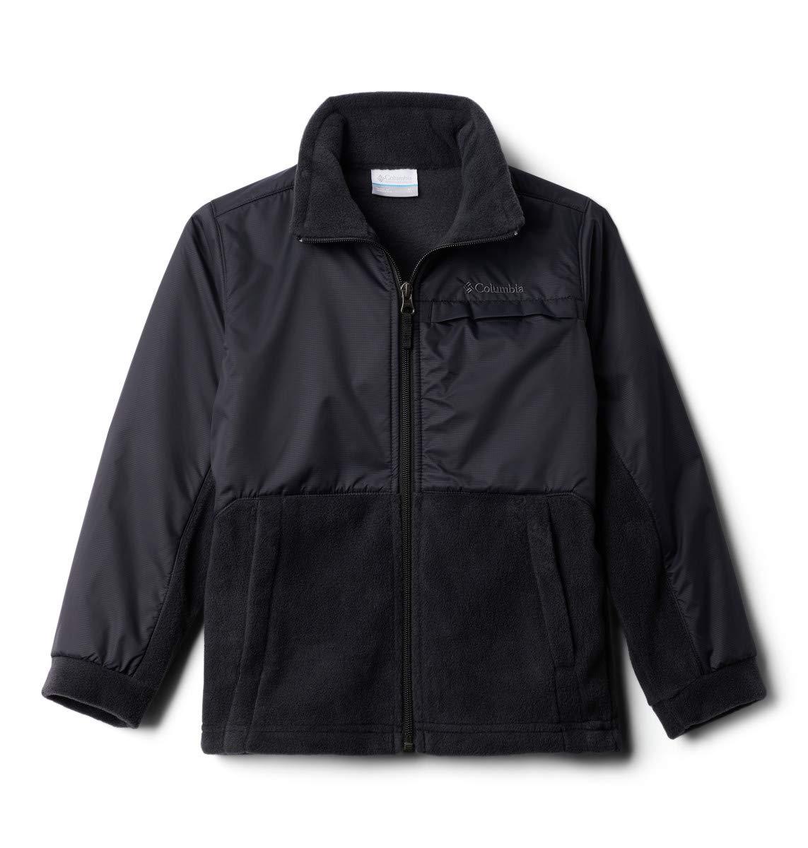 Columbia Big Boys' Steens MT Overlay Fleece Jacket, Black, Medium (10/12)