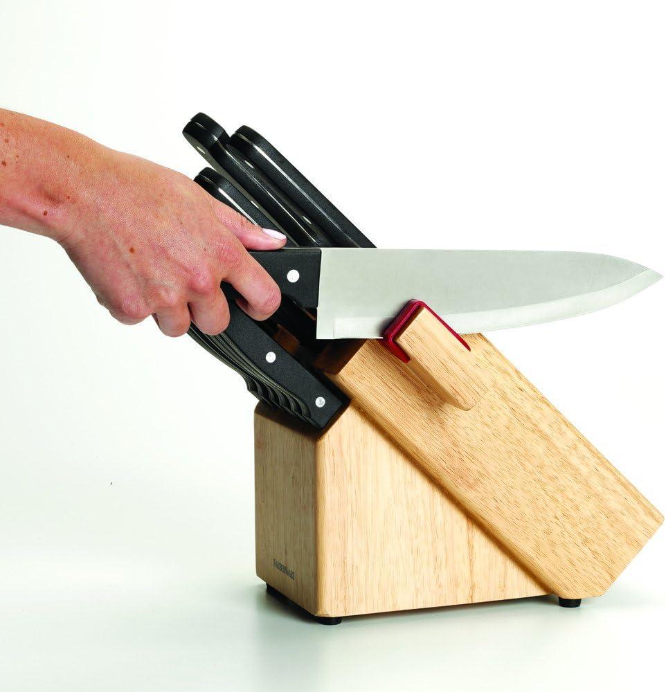 Amazon Com Farberware 14 Piece Triple Rivet Knife Block Set With Built In Edgekeeper Knife Sharpener Kitchen Dining