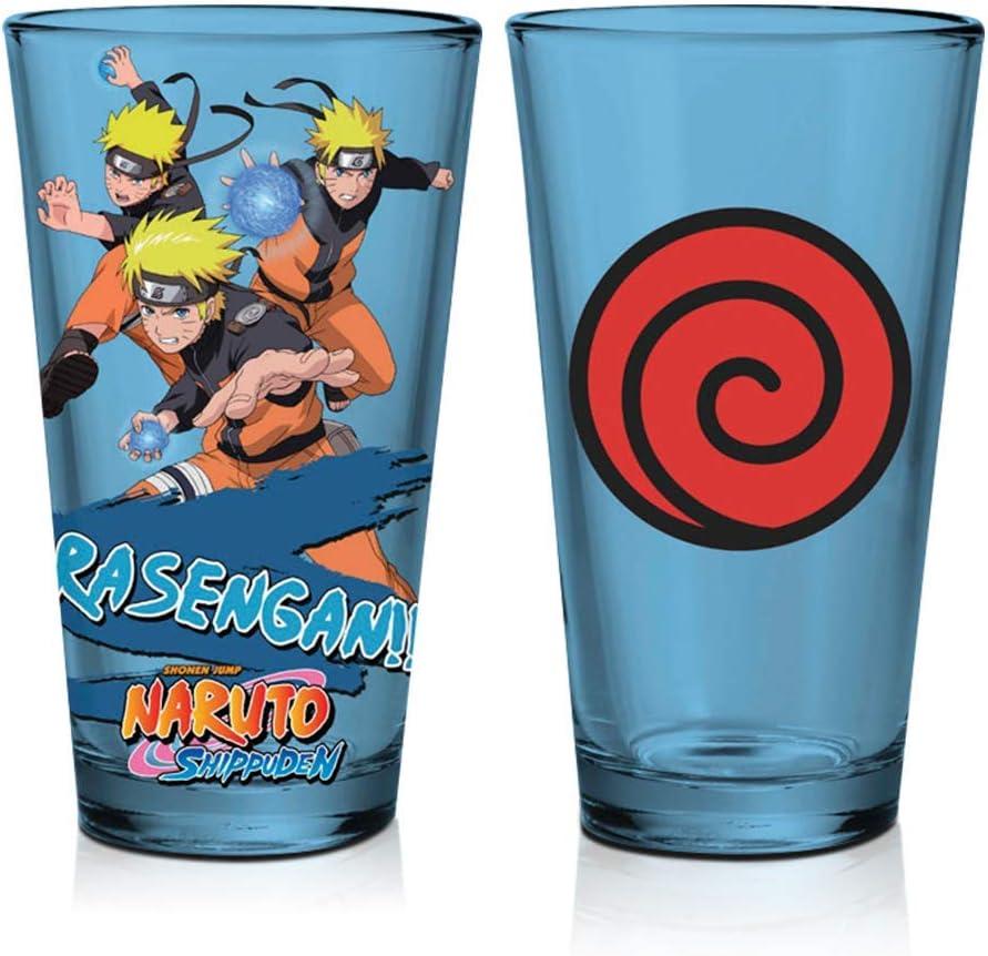 Naruto Blue Cold Changing Rasengan Drinking Glass, 16 oz, by Just Funky - Shadow Clone Jutsu, Uzamaki, Wind Style, Leaf Village, Ninja, Anime