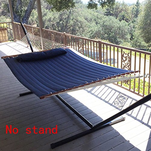 Vansaile NEW Hammock Quilted Fabric with Pillow Double Size Spreader Bar Heavy Duty(Blue) (Large Quilted Fabric Hammock)