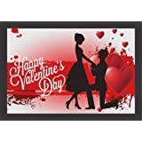 Mad Masters # Canvas Happy Valentines Day Red Heart Love Couple Painting Valentine Day Gift for Her & Him (UV Textured Print 19 x 13)