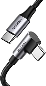 UGREEN USB-C to USB-C Cable Right Angle, 100W Type C PD Charging Cord for Apple MacBook Pro, Huawei Matebook, iPad Pro 2020, Chromebook, Pixel 4 XL, Samsung Note 10 + S20 S10, Nintendo Switch, 6FT