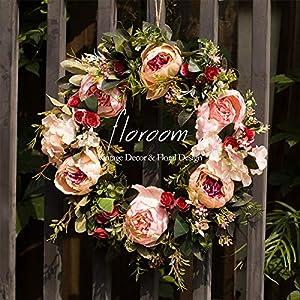 """Floral Wreath, Door Wreath, Artificial Peony Wreath for Front Door 15""""-16"""", Wall Decor"""