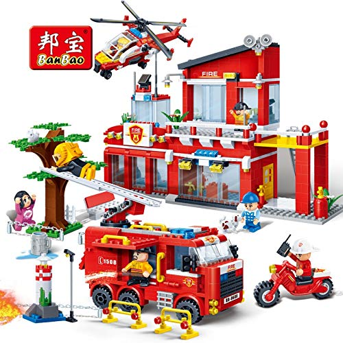 Fire - 7110 Fire Station Firefighters Truck Helicopter Educational Building Blocks Model Toy Bricks for Children Kids Friends - by Orchilld - 1 PCs (Lego Star Wars Lego City Fire Station)