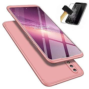 JINCHANGWU Compatible con Funda Huawei Honor 8X, Carcasa Huawei Honor 8X con [ Cristal Templado] Carcasa 3 en 1 Caso, Oro Rosa