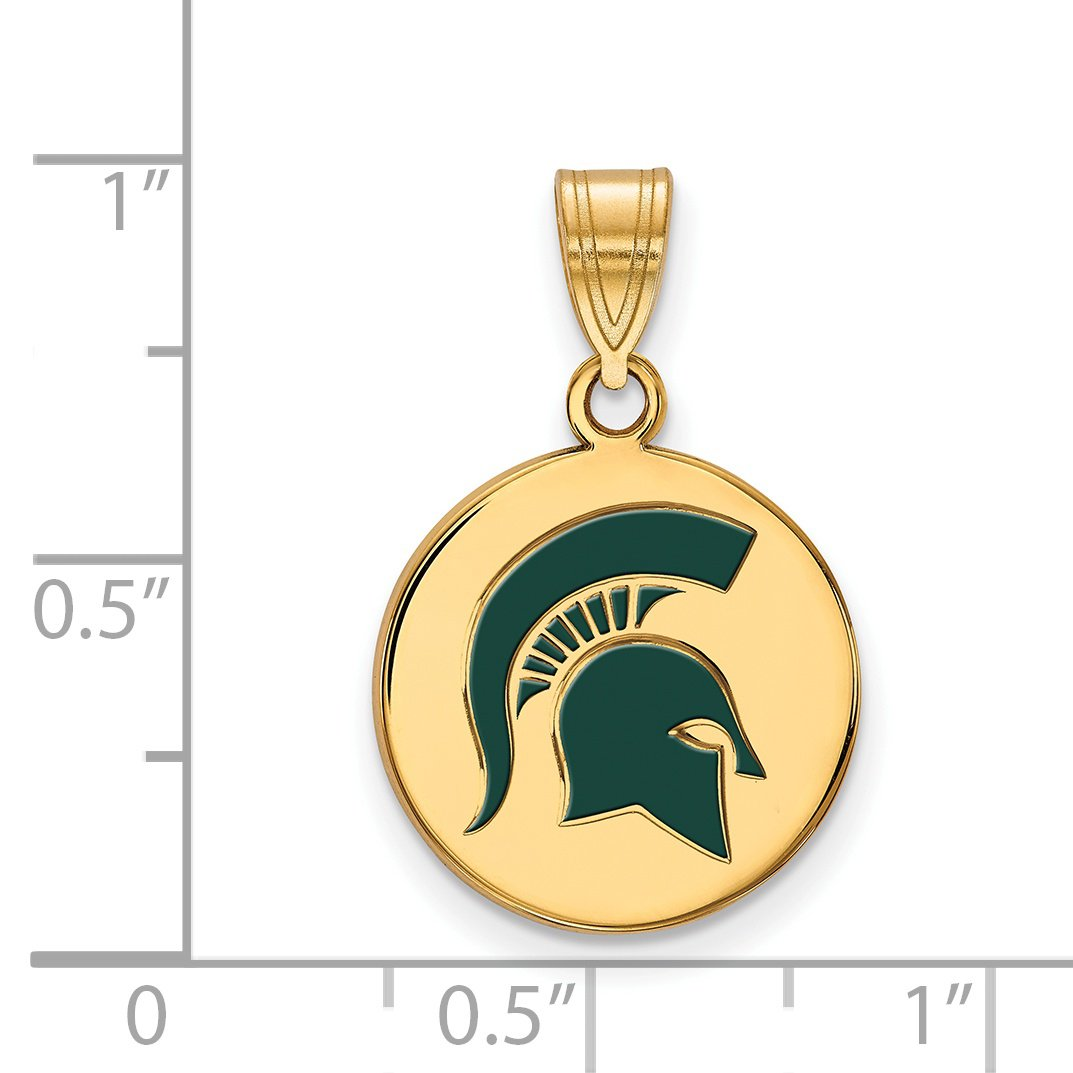 Michigan State Spartans Green Mascot Logo Disc Pendant Gold Plated Silver 16x15mm