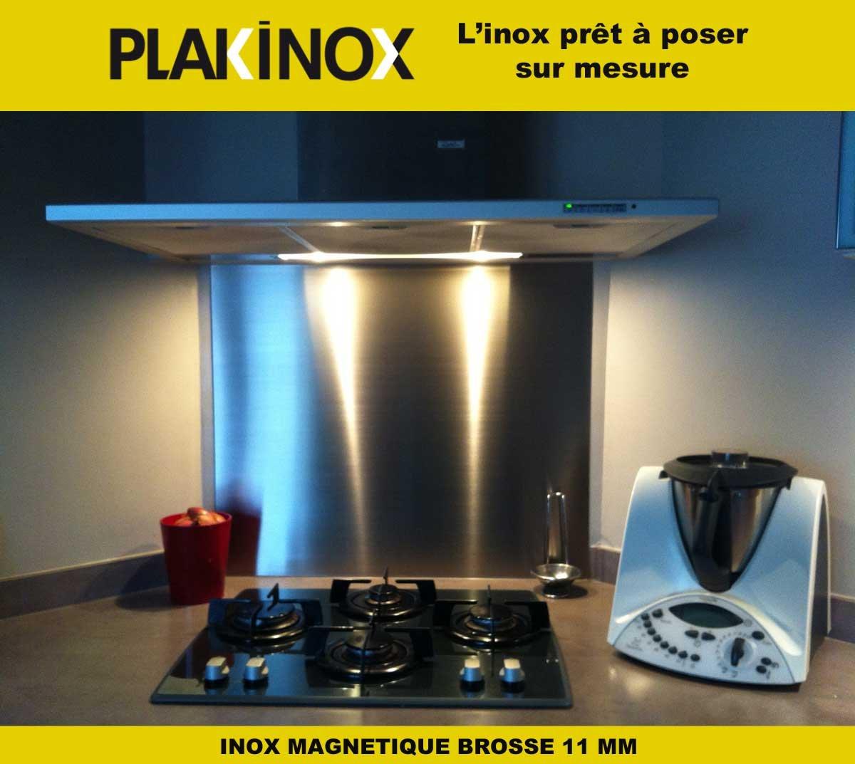 CREDENCE EN INOX MAGNETIQUE /épaisseur 11 mm Inox Bross/é 80 x 40 cm PLAKINOX