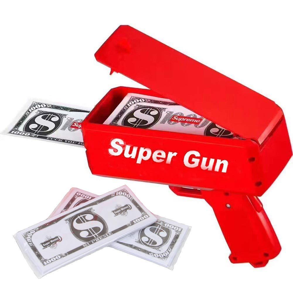 Sopu Super Money Gun Paper Playing Spary Money Gun Make it Rain Toy Gun, Prop Money Gun 100 Pcs Play Money