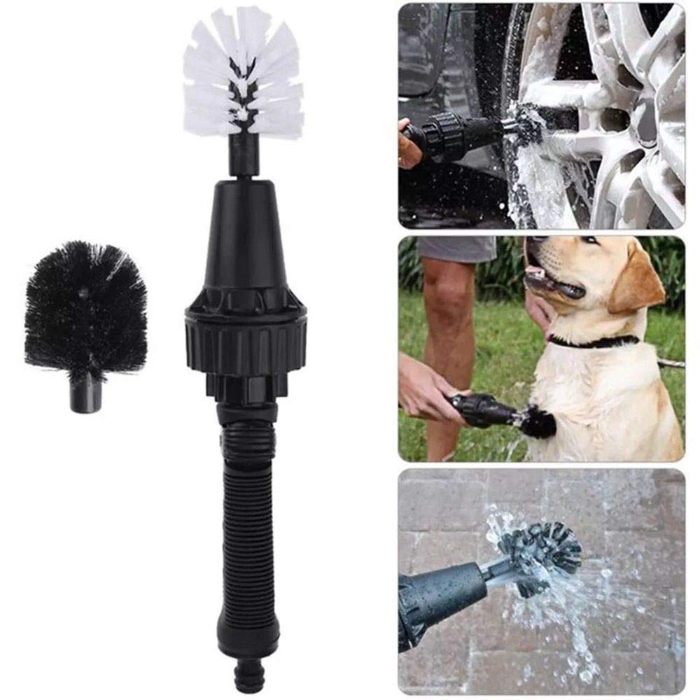 Premium Water Powered Wheel Brush Replace Head Black and White 2 Pack