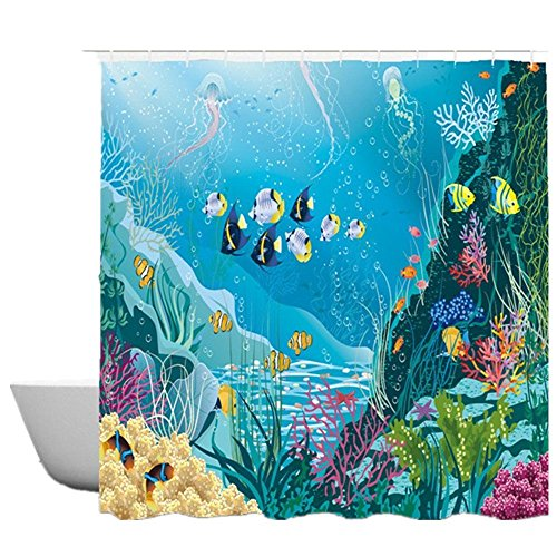 Ocean Fish Fabric - SearchI Cartoon Kids Fabric Shower Curtain Waterproof Blue Ocean Tropical Coral Undersea Fish Shower Curtain for Children Mildew Resistant 12 Hooks
