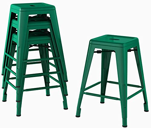 Bonzy Home Bar Stools Set of 4, 24 inches Metal Bar Stools, Stackable Counter Height Barstools, Farmhouse Barstool for Kitchen Indoor Outdoor Backless Bar Stools – Green