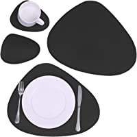 U'Artlines 4Pcs Faux Leather Placemats with Coasters PU Reversible Waterproof Round Place Mat Heat Resistant Non-Slip…