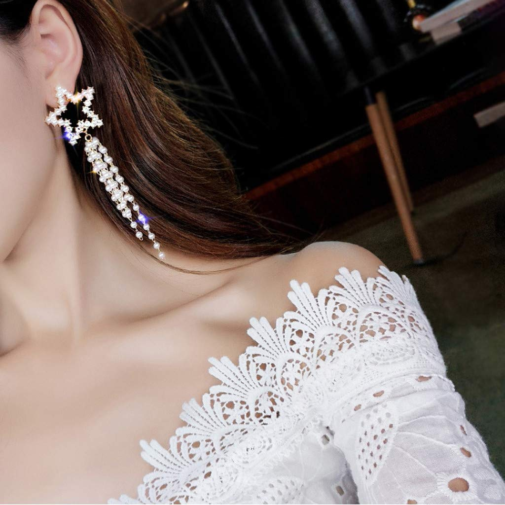 Asymmetric Pearl Earrings Alonea Five Pointed Star Tassel Long Earrings Temperament Earrings for Women Girls