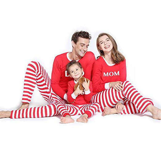 88596a839a Amazon.com  PatPat Matching Family Pajamas Two Pieces Sleepwear Mom Dad  Kiddo Letter Printed Red White Striped Pjs for Adult Kids  Clothing