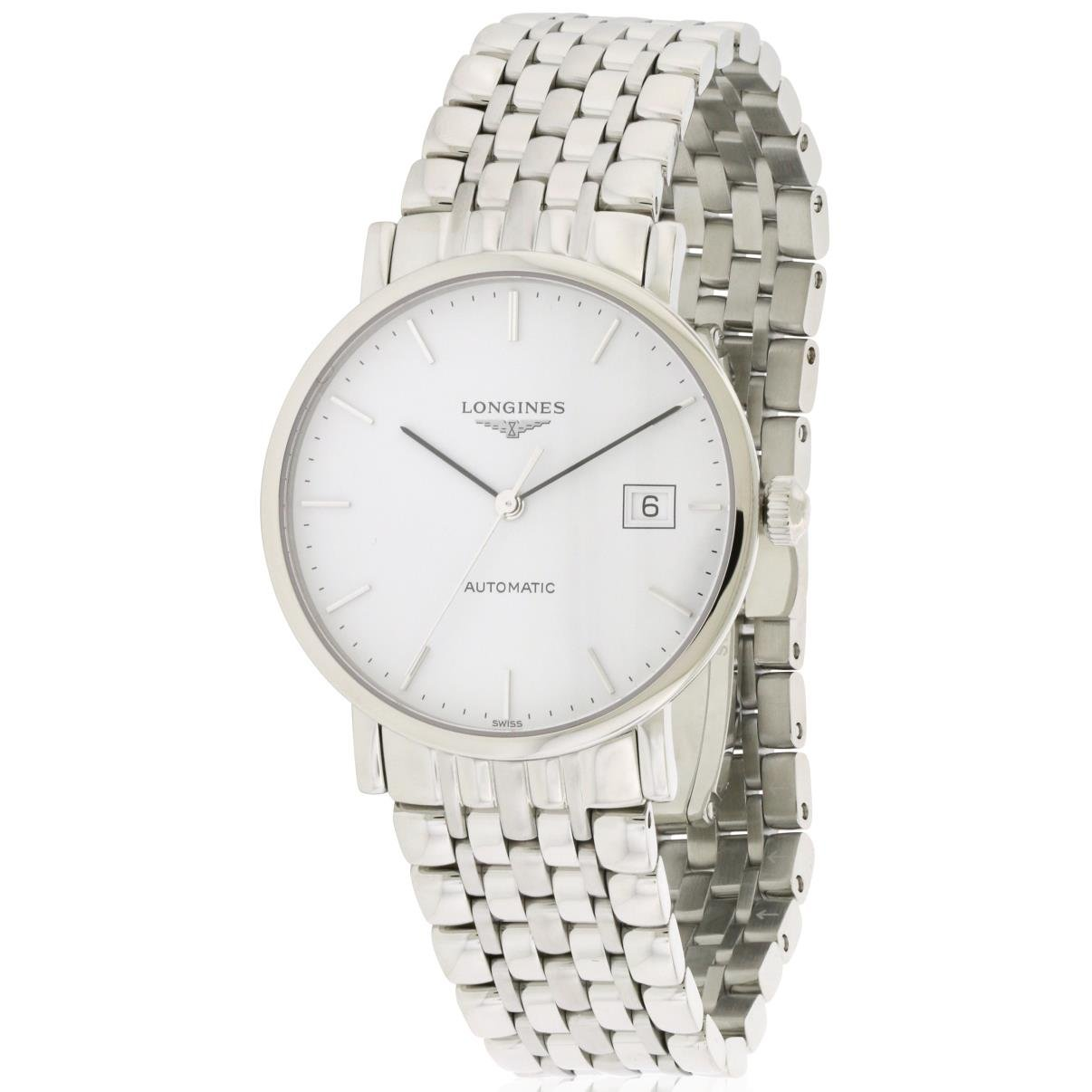 Longines L48104126 Elegant Mens Watch - White Dial Stainless Steel Case Automatic Movement