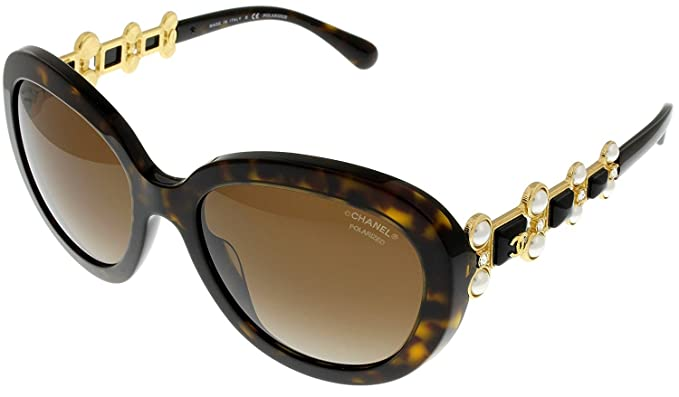 d804283bbd Image Unavailable. Image not available for. Colour  Chanel Bijou Sunglasses  Oval Women Tortoise Pearls ...
