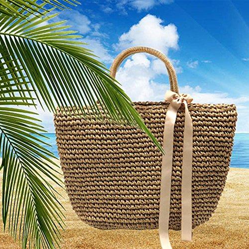 portátil bolso playa de compras forro algodón de paja trenzado bolso la de de de Material poliéster Bolso gran exterior diagonal bolsa de de paquete y proa grande paja playa A de capacidad xIawpRE