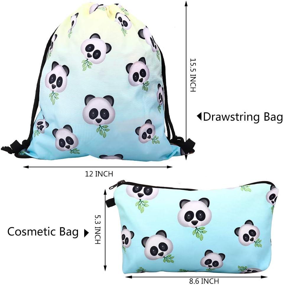 Panda RHCPFOVR 2Pcs Set Impermeabile Drawstring Bag per Ragazze Zaino Stampa Viaggi Borse Da Palestra