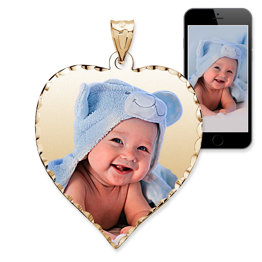 PicturesOnGold.com Personalized Photo Engraved Heart Shaped Custom Photo Pendant/Photo Necklace/Photo Charm with Diamond Cut Edge - 3/4 Inch x 3/4 Inch (10k White Gold)