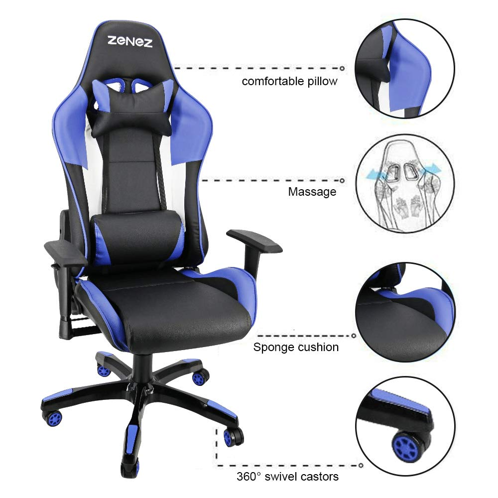 Sedia Gaming PC Sedia Ufficio Schienale Alto ergonomica inclinato rotelle ecopelle con Cuscino Lombare 150 kg Blu