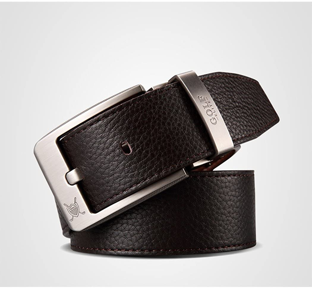 MT-Golf Mens Smart Soft Leather Business Casual Belt with Alloy Buckle
