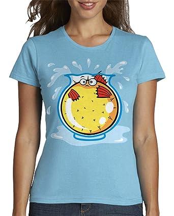latostadora - Camiseta Pez Globo en Pecera para Mujer: SiempreOriginal: Amazon.es: Ropa y accesorios