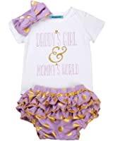 Mornbaby Newborn Baby Girls Clothes Rompers+Ruffel Pants Shorts+Headband 3PCS Outfits Set