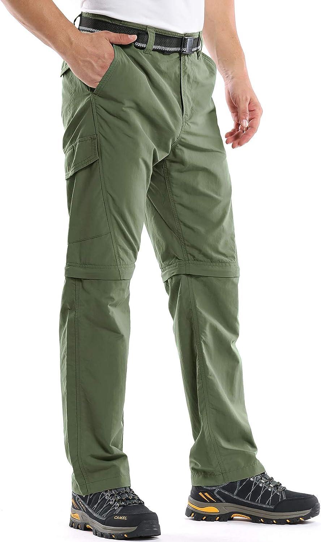 Mens Hiking Pants Zip Off Convertible Quick Dry Lightweight Outdoor Fishing Travel Safari Pants