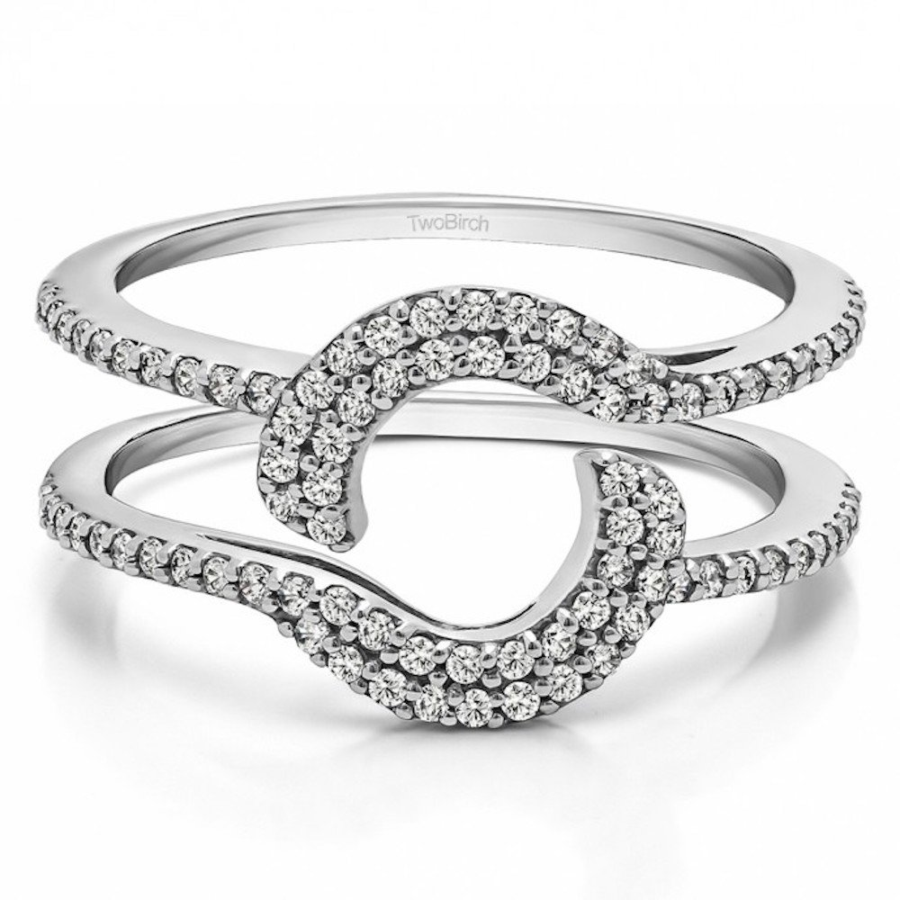 Amazon Sterling Silver Halo Ring Wrap Guard 037 Crt Cubic Zirconia Wedding Bands Jewelry: Halo Wrap Wedding Band At Reisefeber.org