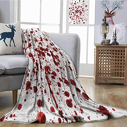 Fickdle Travel Throwing Blanket Horror Splashes of Blood Grunge Style Bloodstain Horror Scary Zombie Halloween Themed Print Red White All Season Premium Bed Blanket W60 xL91 -