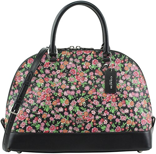 Coach Women's Sierra Satchel in Posey Cluster Floral Print Coated Canvas, Style F57622, Silver Pink Multi by Coach