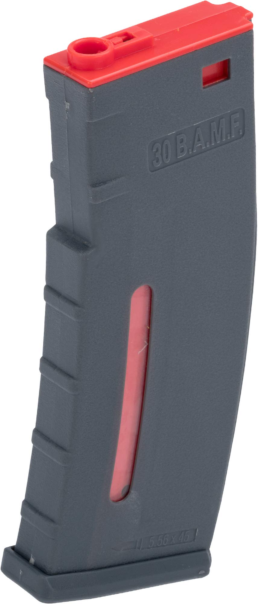 Evike BAMF 190rd Polymer Mid-Cap Airsoft Magazine for M4 / M16 Series AEG Rifles (Color: Gray & Red / x1 Single Mag) by Evike