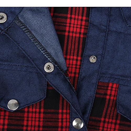 Rouge Coton Plaid Top Tartan Vichy Denim Chemisier Jean Longues Bleu Blouse Bleu Carreaux Check Chemise Haut Boyfriend Style Shirt Rouge Manches Patchwork fqYYUwP