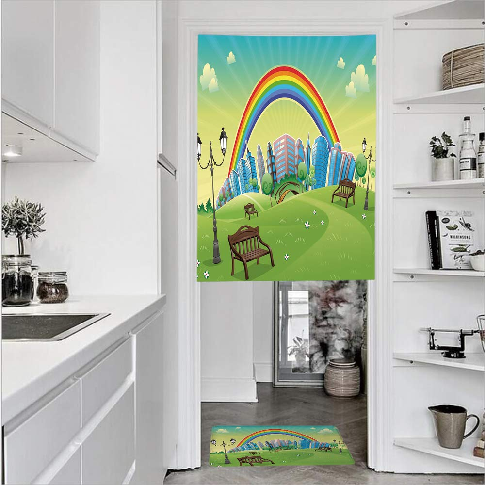 "3D Printed Linen Textured French 1 Panel Door Curtains and 1pcs Doormat Kitchen Mat Rug,Bench Hills Apartments Rainbow Beams Flowers ArtSingle Panel door curtain 35.4""w by 59""h + 1 PCS Doormat 19.7""h"