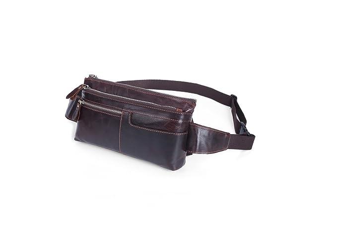 RZL bolsos cruzados y bolsos Bolso de cintura de los hombres Primera capa de cuero Bolso