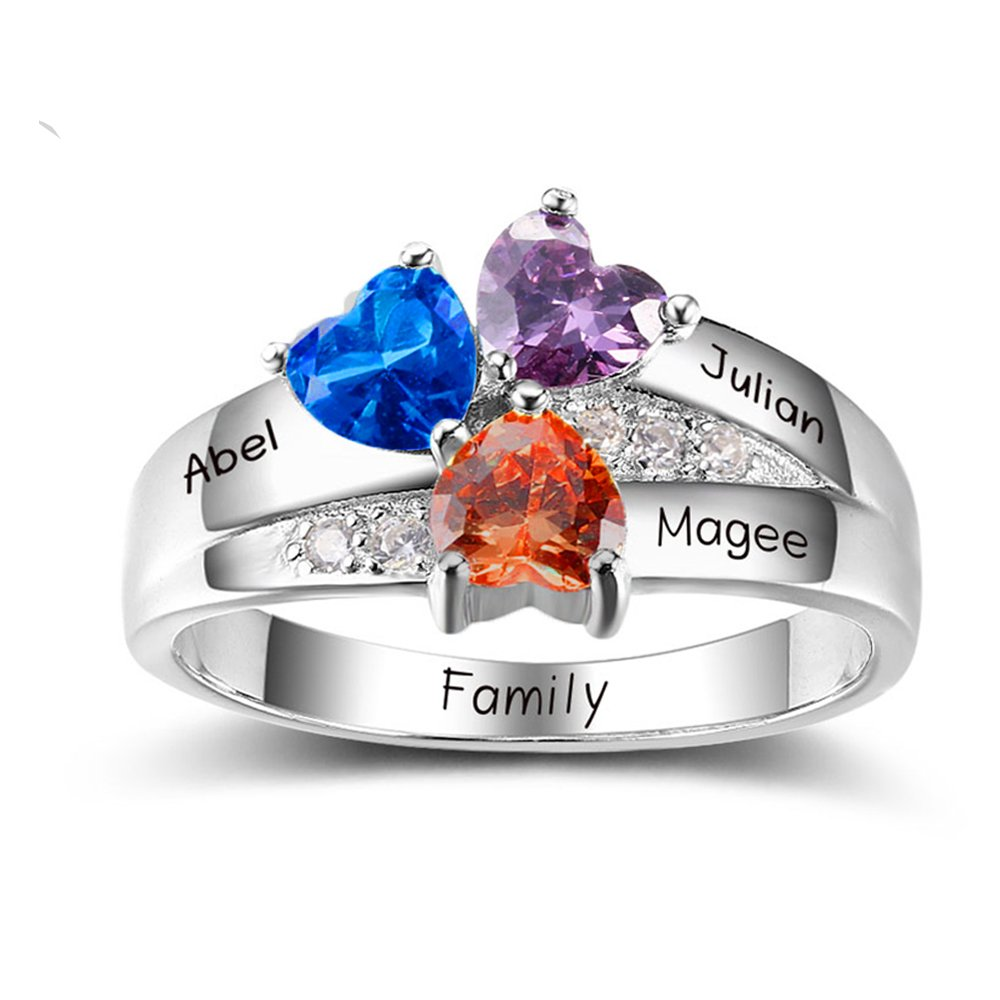 handmadejewelry Personalized Mother Rings with 3 Simulated Birthstones & Names Engraved Family Promise Gift for Mommy (9)