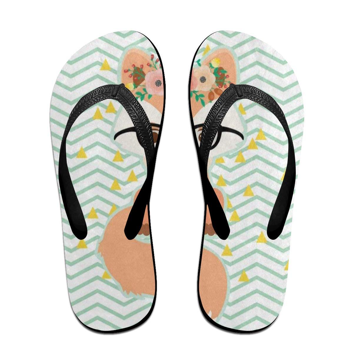 Ladninag Flip Flops Chevron Flower Fox Retro Womens Summer Slippers Brazil Sandals for Teen