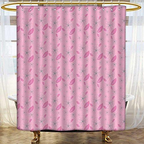 (Shower Curtain Customized Artistic Design Flower Motifs and Petals Pink Garden Light Pink Bathroom Set with Hooks W72 x H90 inch)