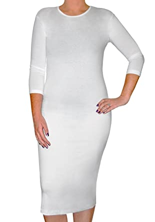 54903801de5 Kosher Casual Women s Modest Stretch Cotton 3 4 Sleeve Layering Midi Dress  at Amazon Women s Clothing store