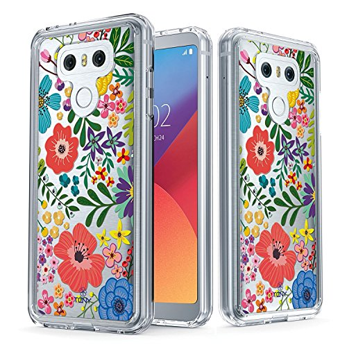 LG G6 Case - True Color Clear-Shield Floral Jungle Printed on Clear Back - Soft and Hard Thin Shock Absorbing Dustproof Full Protection Bumper Cover (True Case Floral)