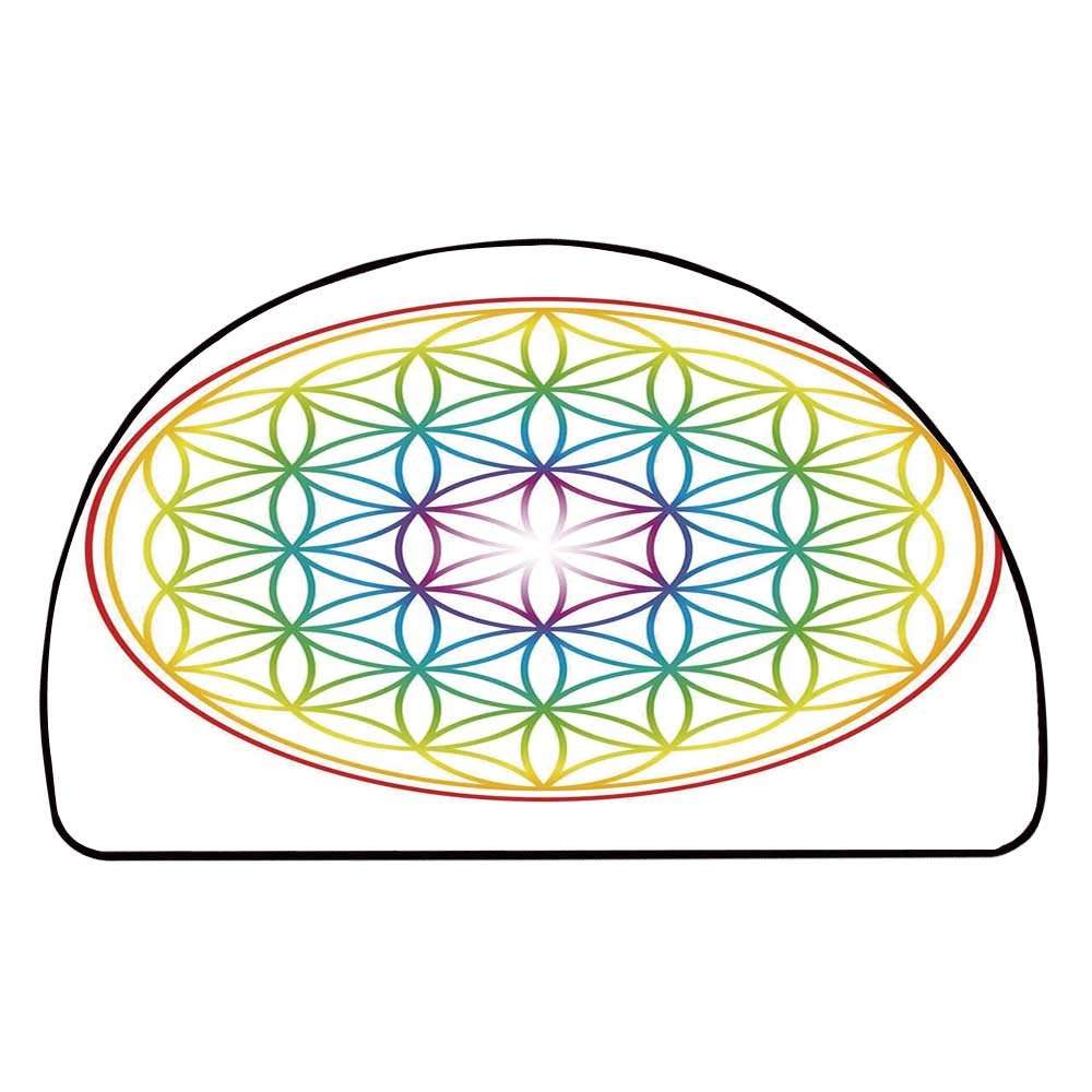 C COABALLA Colorful Comfortable Semicircle Mat,Flower of Life Pattern Radiant Colors Cosmic Dimension Space Forms Artful Print for Living Room,11.8'' H x 23.6'' L