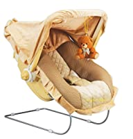 Goyals 12 in 1 Premium Musical Baby Feeding Swing Rocker Carry Cot Cum Bouncer with Mosquito Net and Storage Box (Brown)