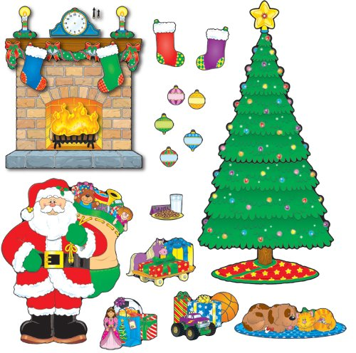 (Carson-Dellosa CD-110062 Christmas Scene Bulletin Board Set, 59 Pieces)