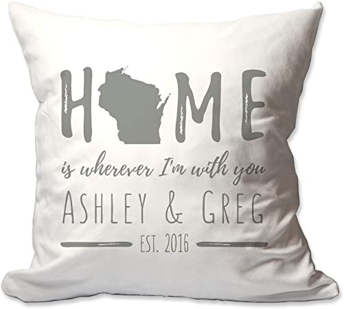 Pattern Pop Personalized Wisconsin Home is Wherever I m with You Throw Pillow