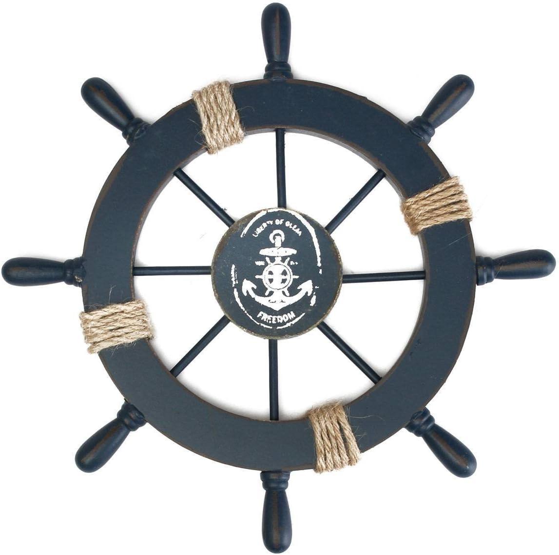ULTNICE Decoración de la pared del hogar del timón de la nave del barco de madera mediterráneo (azul marino)