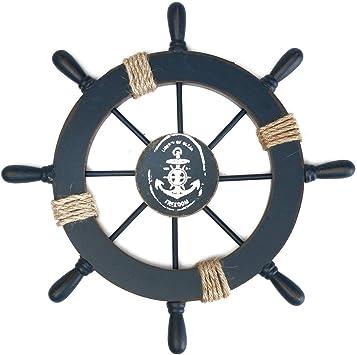 azul marino ULTNICE Decoraci/ón de la pared del hogar del tim/ón de la nave del barco de madera mediterr/áneo