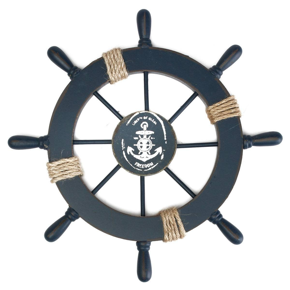 Rosenice wooden ship wheel nautical decor wall hanging for Anchor decoration