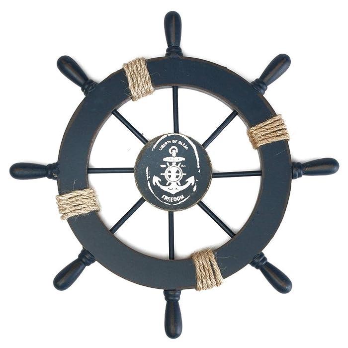 Rosenice Wooden Ship Wheel Nautical Boat Ship Wheel Wall Decor Dark Blue